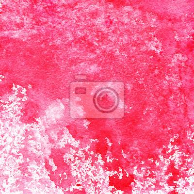 Czerwony i różowy abstrakcyjna akwarela z plamami i tekstury papieru, ręcznie malowane