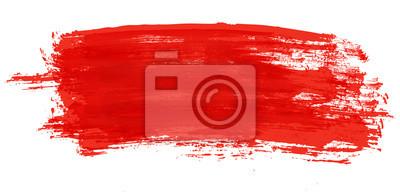 Naklejka Czerwony pociągnięcie pędzlem akwarela na białym tle