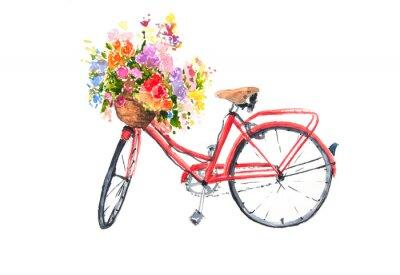 Naklejka Czerwony retro bicykl z kolorowymi kwiatami w koszu, akwarela ilustrator, rower sztuka, może używać dla domu dekoruje