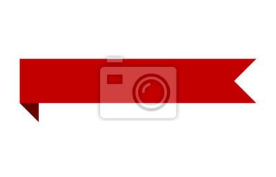 Naklejka Czerwony sztandar wstążki taśmy ze zginania płaskiej konstrukcji dla drukowanych i internetowych