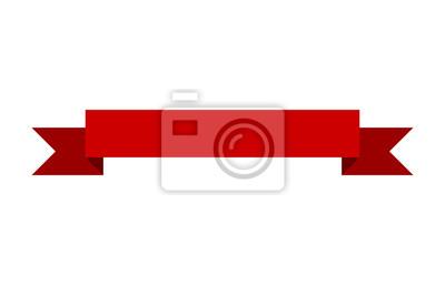 Naklejka Czerwony sztandar wstążki wzór płaski wektorowych do druku oraz stron internetowych