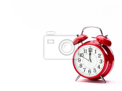 Naklejka Czerwony zegar na białym