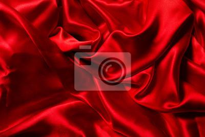 Naklejka Czerwonym tle jedwabiu. Wiele zmięte fałdy