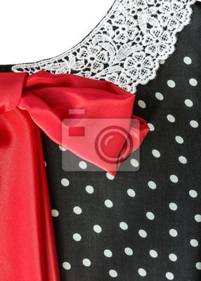 Część retro sukienka z czerwoną kokardką
