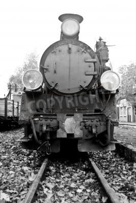 Naklejka Część starego pociągu parowego w czerni i bieli