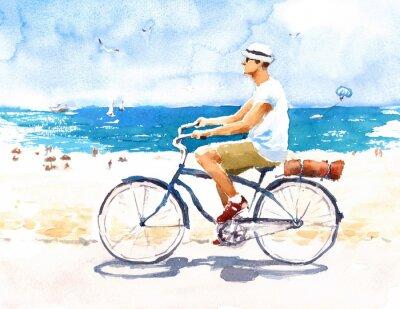 Naklejka Człowiek Na Rowerze Letnia Scena Plaży Ilustracja Akwarela Ręcznie Malowane