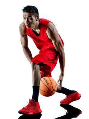 Naklejka Człowiek sylwetka koszykarz izolowane