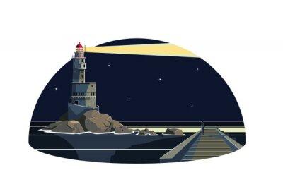 Naklejka Człowiek w falochronu patrząc latarni Lightning w nocy