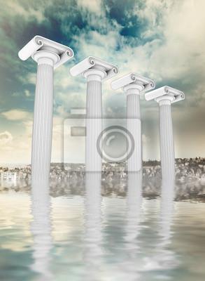 cztery afload starożytne greckie kolumny Ionian