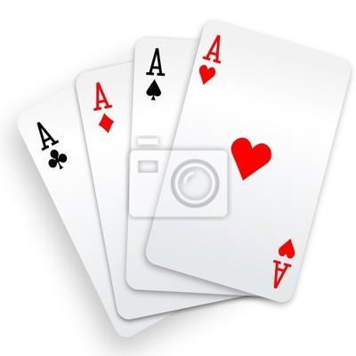 Naklejka Cztery asy karty do gry w pokera rękę zwycięzca