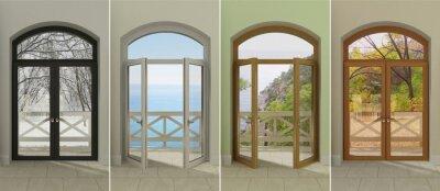 Naklejka Cztery okna w różnych porach roku. Cztery wielobarwne okna z dostępem do różnych pór roku.