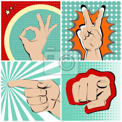 Cztery ręce gesty na jasnych i kolorowe tło.