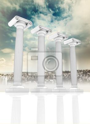 cztery starożytne greckie kolumny w Jońskie w wierszu