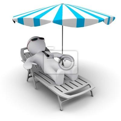 # D człowiek na wakacje pod parasolem