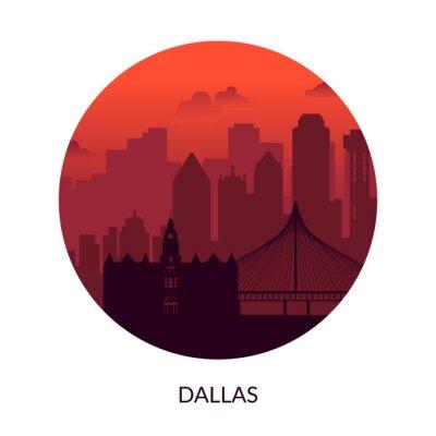Dallas, USA famous city scape view background.