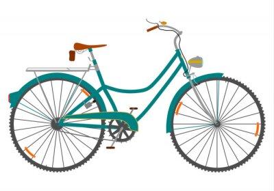 Naklejka Damski rower retro na Białym TLE.