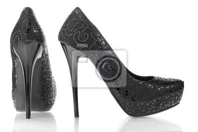 Damskie czarne skórzane buty łaciate