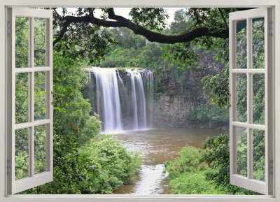 Naklejka Dangar Falls zobaczyć w otwartym oknie