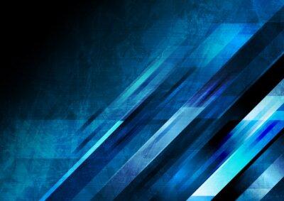 Naklejka Dark blue grunge tech geometric abstract background. Vector graphic design