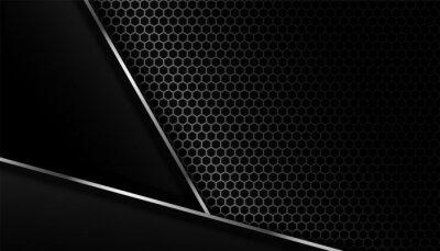 dark carbon fiber background with metal lines