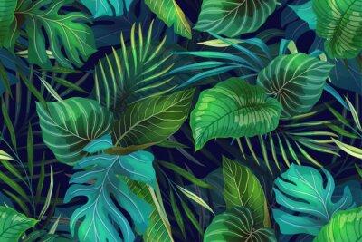 Naklejka Dark pattern with exotic leaves
