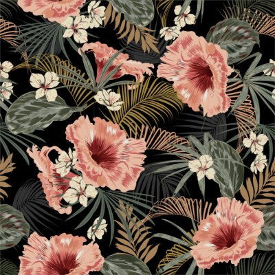 Naklejka Dark tropical forest at night seamless pattern wallpaper vintage mood leaves of palm trees and exotic of flowers design for fashion,fabric,web,wallpeper,and all prints