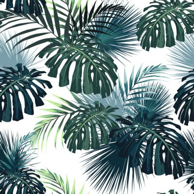 Naklejka Dark tropical leaves with jungle plants. Seamless tropical pattern with green palm and monstera leaves. White background.