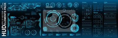 Naklejka Dashboard blue display virtual reality technology screen. HUD futuristic user interface, target. HUD elements mega pack set.
