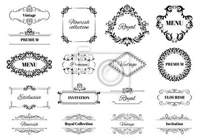 Naklejka Decoration ornament frame. Vintage calligraphic motif ornate text, ornamental frames and decorative borders vector illustration set