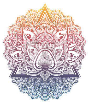 Naklejka Decorative blossoming lotus flower. Hand drawn element in ethnic oriental, Indian style.
