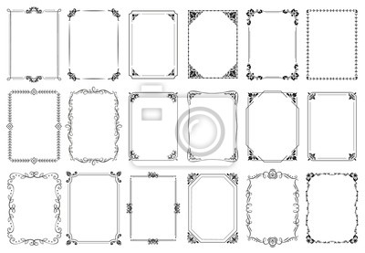 Naklejka Decorative frames. Retro ornamental frame, vintage rectangle ornaments and ornate border. Decorative wedding frames, antique museum picture borders or deco devider. Isolated icons vector set