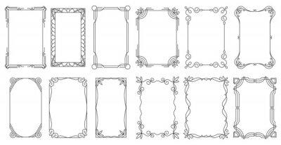 Naklejka Decorative frames. Vintage calligraphic antique borders. Ornate calligraph rectangle frames, wedding elegant ornamental borders and filigree floral ornaments for framed certificate template