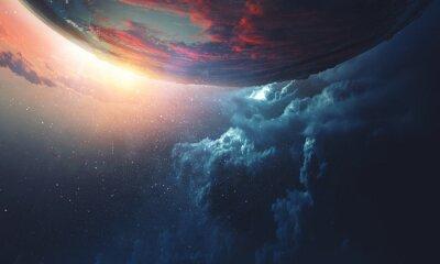 Naklejka Deep space beauty. Planet orbit.