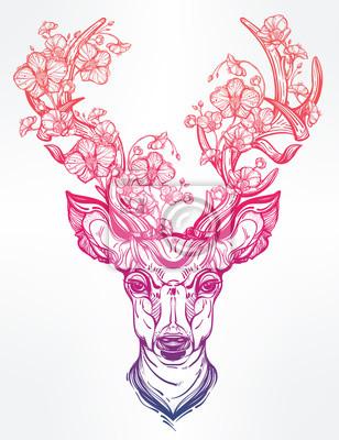 Naklejka Deer Head z kwiatami w stylu sztuki linii.