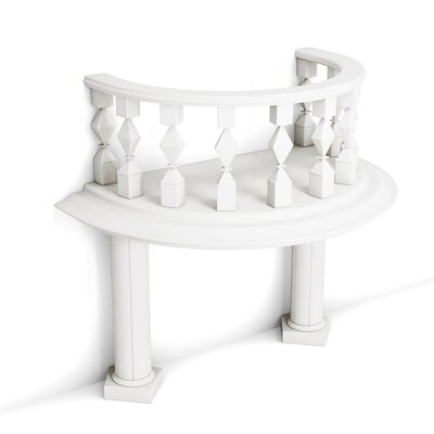 Naklejka Dekoracyjne balkon z kolumn na białym tle. Renderowania 3d.