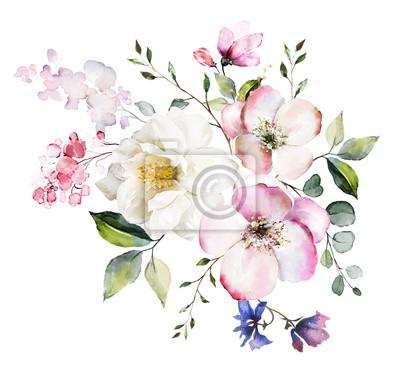 dekoracyjne kwiaty akwarela.