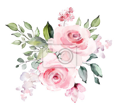 dekoracyjne kwiaty akwarela. ilustracja kwiatowa, liść i pąki. Botaniczny skład na ślub lub karty z pozdrowieniami. gałąź kwiatów - róże abstrakcyjne, romantyczne