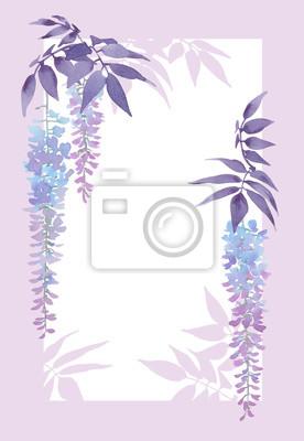 Dekoracyjne prostokątna rama z kwiatowymi elementami akwarela, wisteria w kwitnące.
