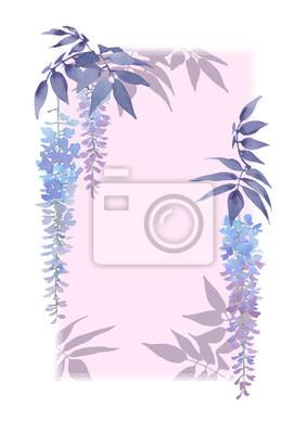 Dekoracyjne prostokątna rama z kwiatowymi elementami akwareli i bzu tle.