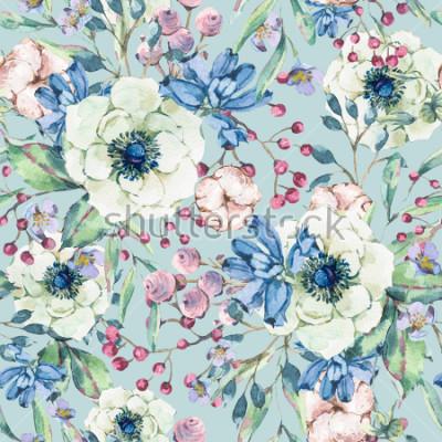 Naklejka Dekoracyjnej rocznik akwareli naturalny bezszwowy wzór z anemonem, wildflowers, bawełną, liściem i pączkami, botaniczna kwiecista ilustracja na błękitnym tle