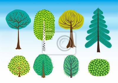 dekoracyjny, ilustracja, retro, zestaw, zielony;