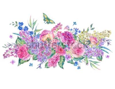 Naklejka Dekoracyjny rocznika akwareli kartka z pozdrowieniami z różowymi różami, bzami, kwiatami, liściem i pączkami, botaniczna kwiecista ilustracja odizolowywająca na białym tle