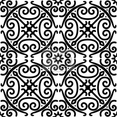 Dekoracyjny wektor bez szwu czarno-biały wzór
