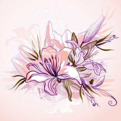 dekoracyjnych kompozycji z dużymi liliami rysunkowych