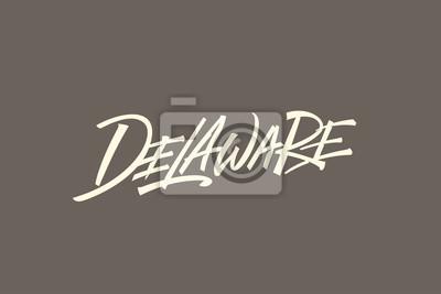 Delaware USA Słowo Państwowe Logo Ręcznie malowane Szczotka Szablon Logo Kaligrafii