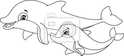 Naklejka Delfiny Coloring strona
