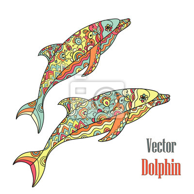 Delfiny parą. Wektor.
