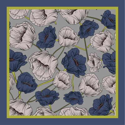 Naklejka Delicate colors of silk scarf with flowering poppies.