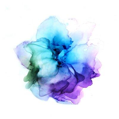Naklejka Delicate hand drawn watercolor flower in blue and violet tones. Alcohol ink art. Raster illustration.