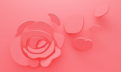 Delicate pink background with rose and flying petals. 3d rendering